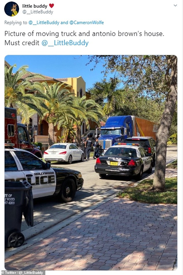 A picture from outside Antonio Brown's Florida home shows a moving truck