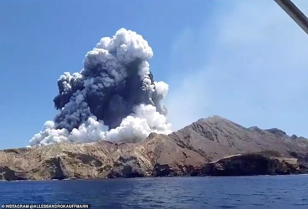'It would be inappropriate and insensitive to broadcast this footage': A TVNZ spokesperson said that a date scene, which had been filmed on the island last year, had been removed. Pictured: White Island's volcano during the eruption