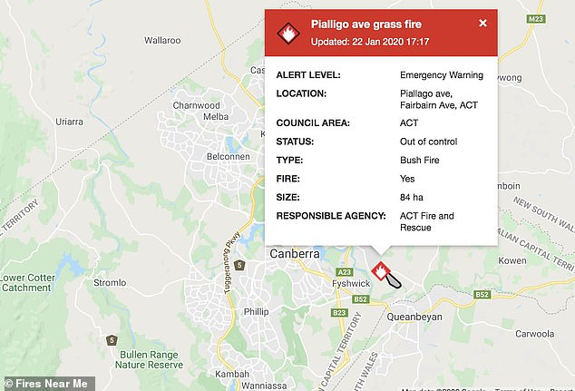 An emergency warning was issued at 5.39pm on Wednesday with anyone in Oaks Estate, Beard, and West Queanbeyan told it was too late to leave