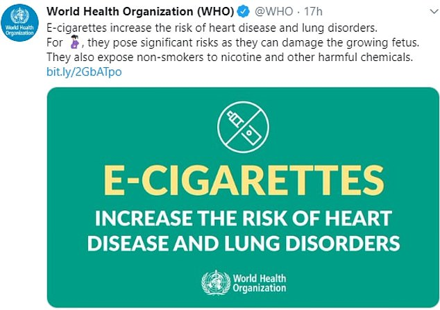 The World Health Organisation (WHO) has issued its strongest warning to date about e-cigarettes, claiming they are not safe. In a series of strongly worded tweets, it claimed vaping is harmful to the developing brains of teenagers and can damage a growing foetus