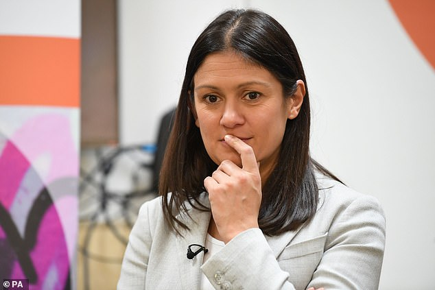 Lisa Nandy, pictured at a campaign event in London this morning, said the political 'consensus' struck by Margaret Thatcher continued under Tony Blair