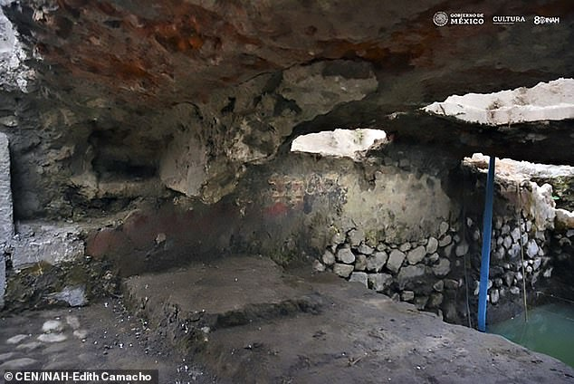 The so-called sweat lodge (pictured) was found at an archaeological site in the neighbourhood of La Merced in Mexico City