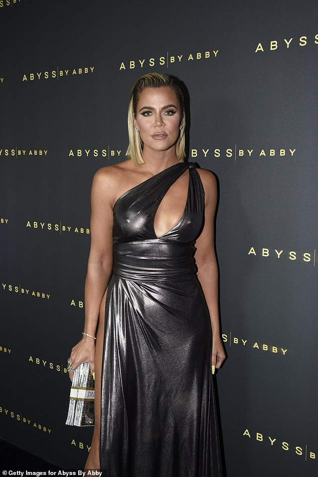 Going glam: Khloe was a vision in a metallic dress as she attended the Abyss By Abby launch party in West Hollywood