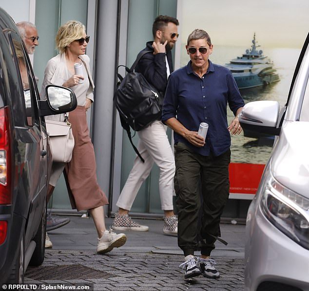 Ellen and her wife Portia de Rossi took a trip to London to visit Prince Harry and Meghan after the birth of Archie over the summer (pictured), remarking on her talk show: 'I see them get attacked and it's not fair. They are two of the most down-to-earth compassionate people, they're doing so much good for the world'