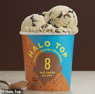 Low-carb: Regular Halo Top has 52 to 72 grams of carbs per pint, or 13 to 18 grams per serving (pictured: Peanut Butter Chocolate)