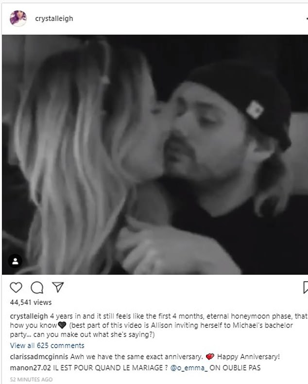 Wedding bells! 5SOS star Michael Clifford's fiancee Crystal Leigh reveal they will tie the knot imminently as model posts PDA-filled video of the pair