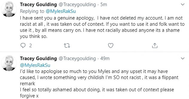 'I was childish': Tracey hastily apologised for her earlier tweet and said it was 'taken out of context'