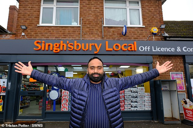 The licensee denies being an imitator and says his innocent pun from the local Singh'sbury store