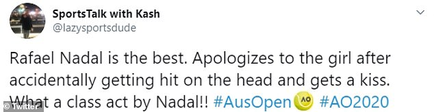 Other tennis fans commended Nadal on his caring nature and wished they could get a kiss from him