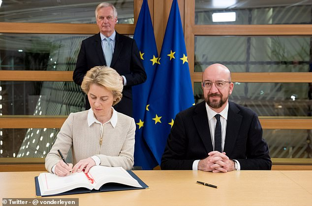 Ursula von der Leyen signed the Withdrawal Agreement treaty this morning in Brussels. She was joined by Charles Michel (right) and Michel Barnier