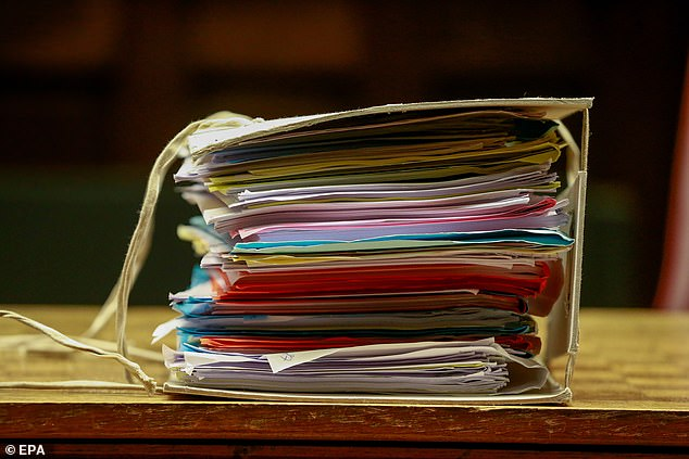 Some of the files found stashed in the suspected paedophiles' houses, leading to their trial