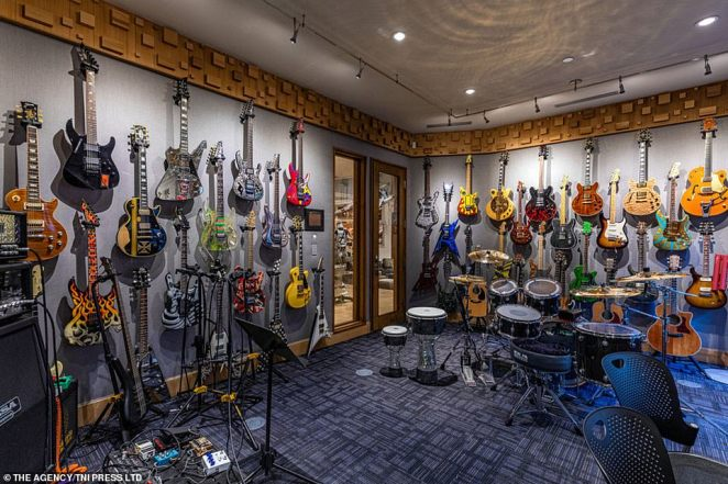 The $26.5 million home also has a large music studio complete with various guitar models, drums and top-quality audio equipment