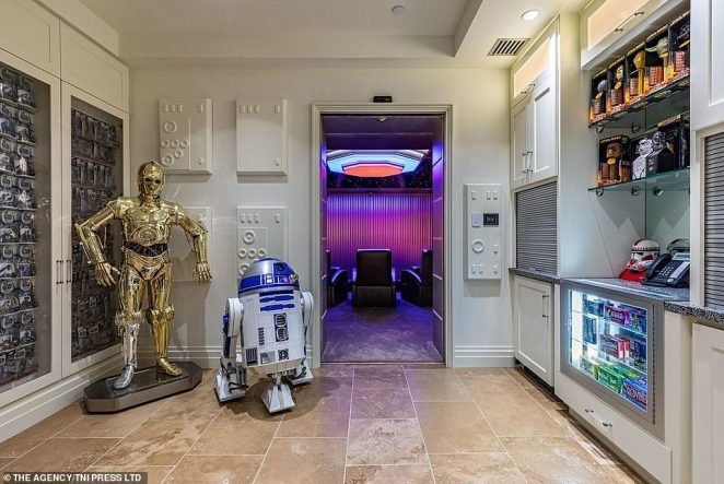 The house also comes with a collection of models of key figures from the Star Wars franchise as seen in this foyer outside the movie theater. The gold-colored C-3PO is a multilingual robot created by Anakin Skywalker. The little bot, R2-D2, is a well-known and much loved character who features regularly in the franchise with his characteristic bleep-bloop sound often announcing his arrival