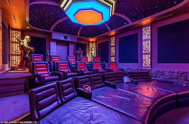 Inside the luxury sci-fi-themed mansion there is also a movie theater, with multiple leather seats and a ceiling that is a model of the cockpit view from a TIE fighter - a single-pilot vehicle that is designed for fast-paced maneuvering in outer-space