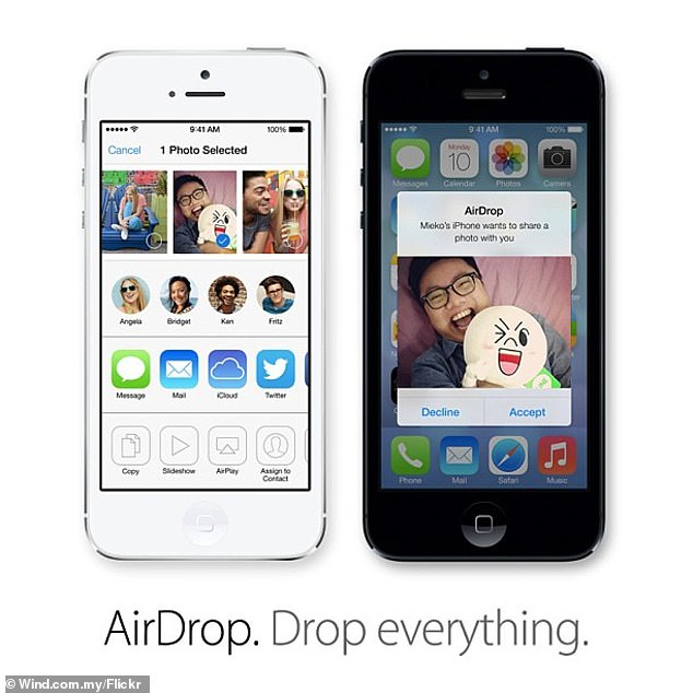 As with Apple's AirDrop, pictured, compatible phones nearby will appear in the Quick Share screen allowing for the transfer of images, video and other files.AirDrop — launched in 2011 — has prompted controversy over the way in which feature's 'everyone' setting can allow strangers to send unsolicited and offensive images