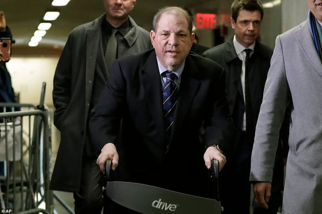 Weinstein on his walker in the courthouse on Friday. The 67-year-old denies the charges