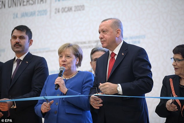 Merkel speaks during the Turkish-German facilities opening ceremony in Istanbul