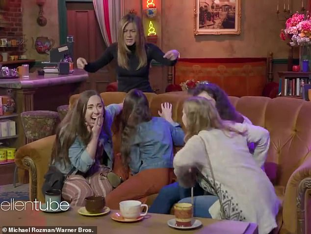 Monica, Phoebe, but not Rachel:When asked 'Who's your favorite Friend?' tour-goers jumped out of their skin when Jennifer jumped out ¿ and not one of them answered Rachel