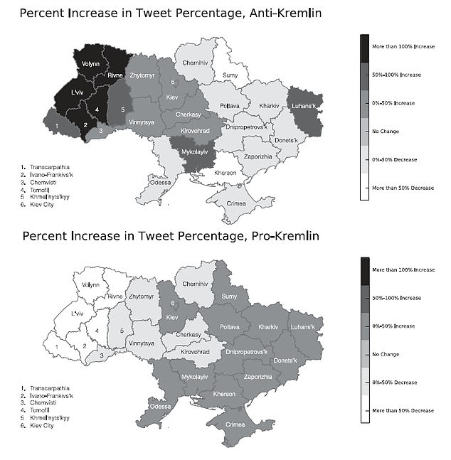 In a second, larger dataset, Crimea no longer stood out as an extreme outlier — instead, the maps emphasised the longitudinal dimension of the data, with more pro-Kremlin sentiments appearing in the eastern oblasts and anti-Russian tweets in the west