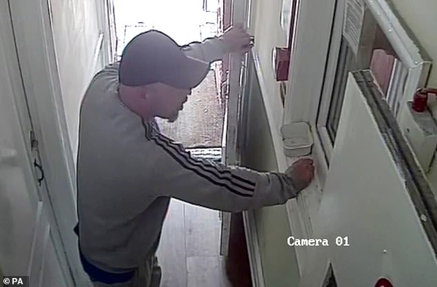 McCann struck the married woman, then demanded sex during a five-hour ordeal. Pictured:McCann during a separate incident at the Phoenix Lodge Hotel in Watford on the afternoon of April 25, as he left two women, his victims, in his car outside