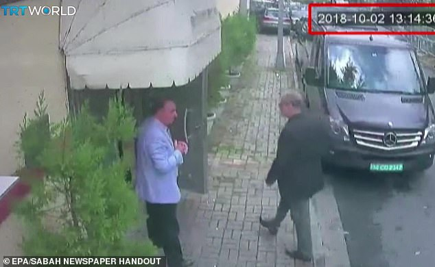 Saudi journalist Jamal Khashoggi (right) enters the Saudi consulate in Istanbul, Turkey in October 2018