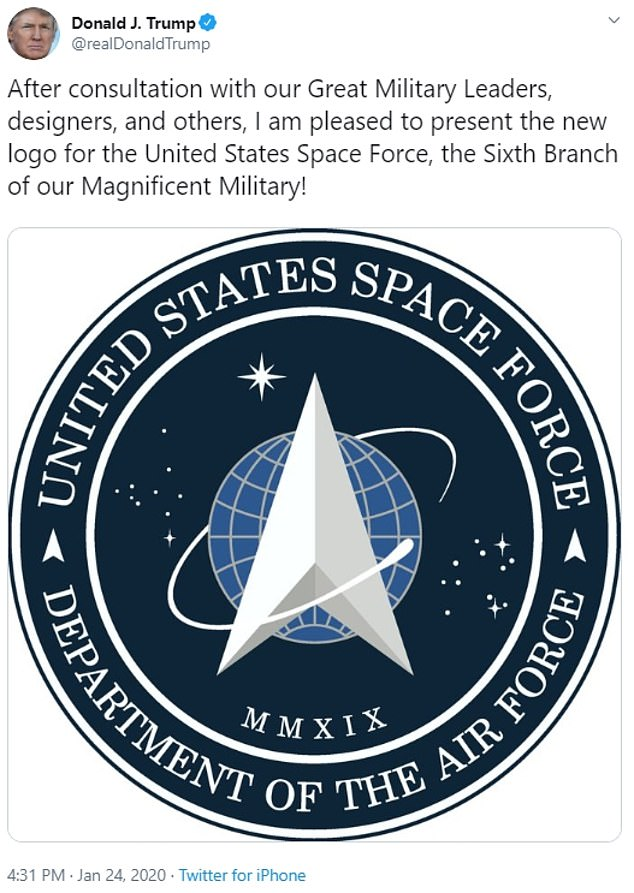 President Trump on Friday unveiled the new logo for the Space Force