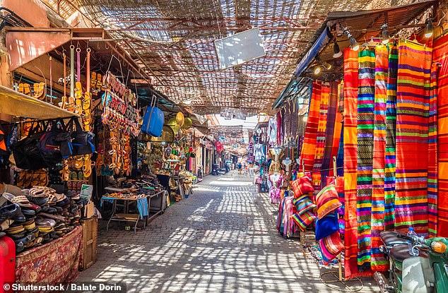 Joan's last adventure was to Marrakesh in Morocco. Pictured is theJamaa el Fna market