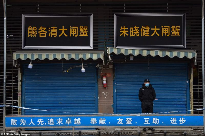 A man stands guard outside the Huanan Seafood Wholesale Market in Wuhan, which was ground zero for the outbreak at the beginning of this year. Photographed today, January 24