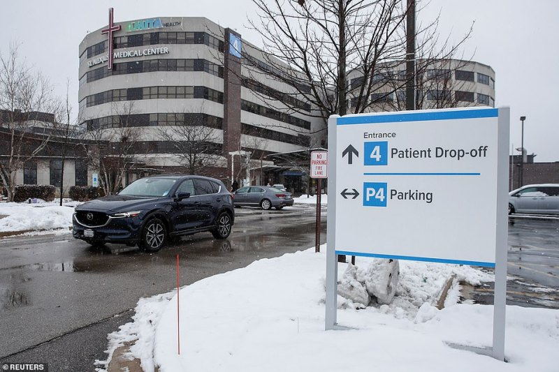 An Illinois woman has confirmed to have contracted coronavirus and is being treated at St. Alexius Medical Center in Hoffman Estate, Illinois (seen above on Saturday)