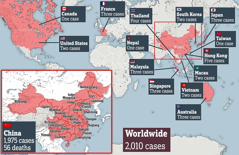This map shows all the areas where coronavirus has been identified so far, including Canada