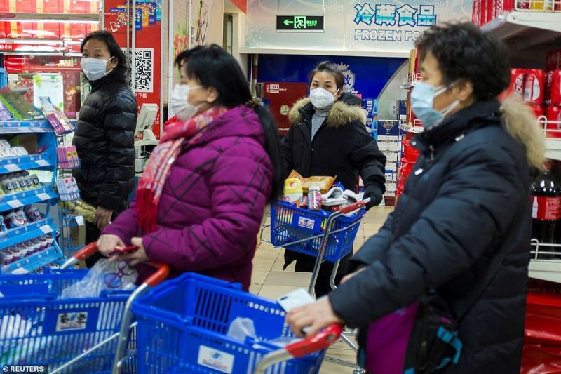 People wear face masks as they line up at the checkout in a supermarket in Beijing, China, as the country is hit by an outbreak of the new coronavirus