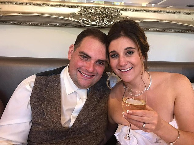 Daniel Appleton, 37, was charged on Friday with the double murder in Crawley Down, West Susse. He is pictured above with is wife Amy on their wedding day