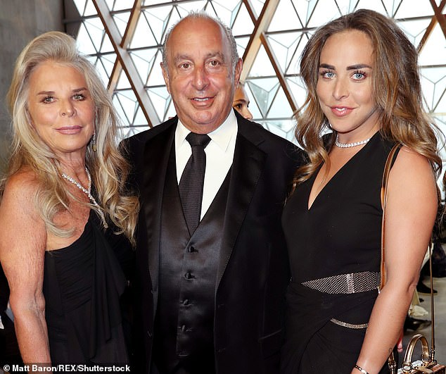 Stripped of his billionaire status in last year's Sunday Times Rich List, Sir Philip (centre) transferred ownership of his business empire many years ago to his Monaco-based wife, Lady Tina (left). Pictured: Lady Tina, Sir Philip and Chloe Green