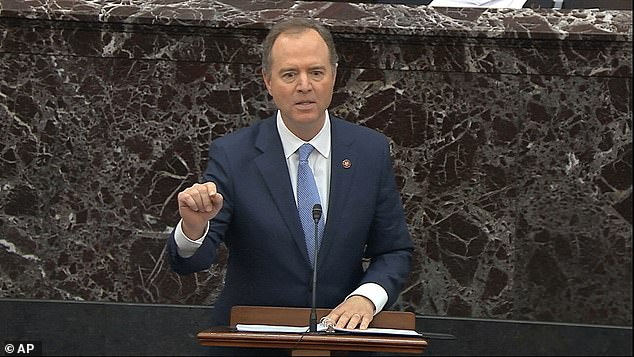 While making closing remarks from his opening arguments Friday, Schiff said members of the GOP are scared to vote for impeachment because their 'head will be on a pike.' He was referencing a CBS report that he admitted he did not know if it was true