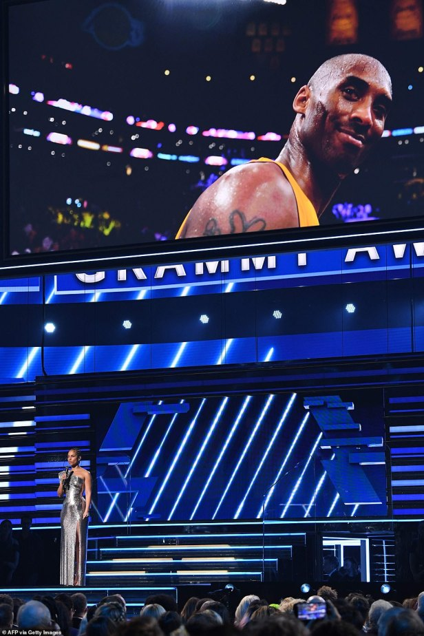 'We're standing here, heartbroken, in the house that Kobe Bryant built':The 39-year-old singer gave an emotional monologue