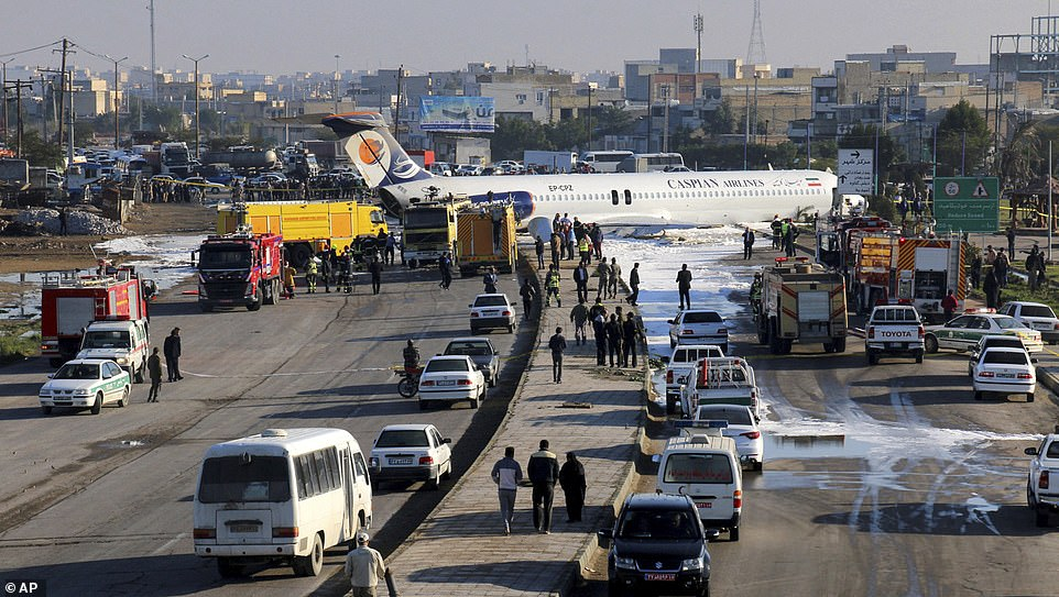A Caspian Airlines plane carrying 150 passengers from the Iranian capital of Tehran to the southern city ofMahshahr suffered a fault with its landing gear while touching down around 9.30am local time Monday