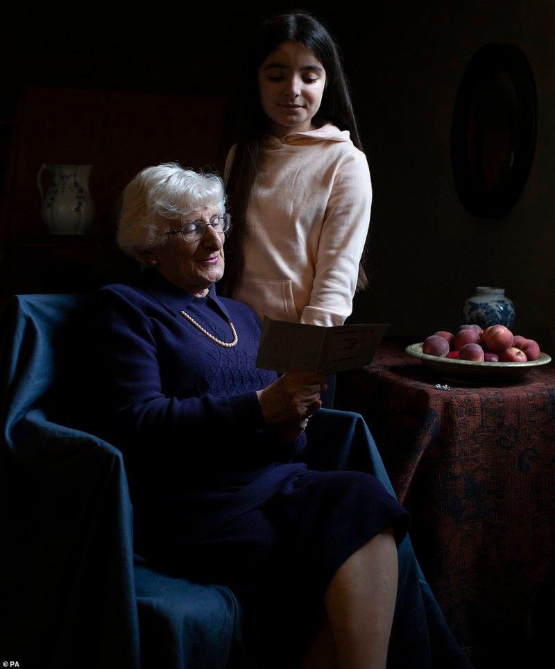 Memories: Yvonne Bernstein, 82, pictured alongside her 11-year-old granddaughter Chloe, also survived the Nazi Holocaust