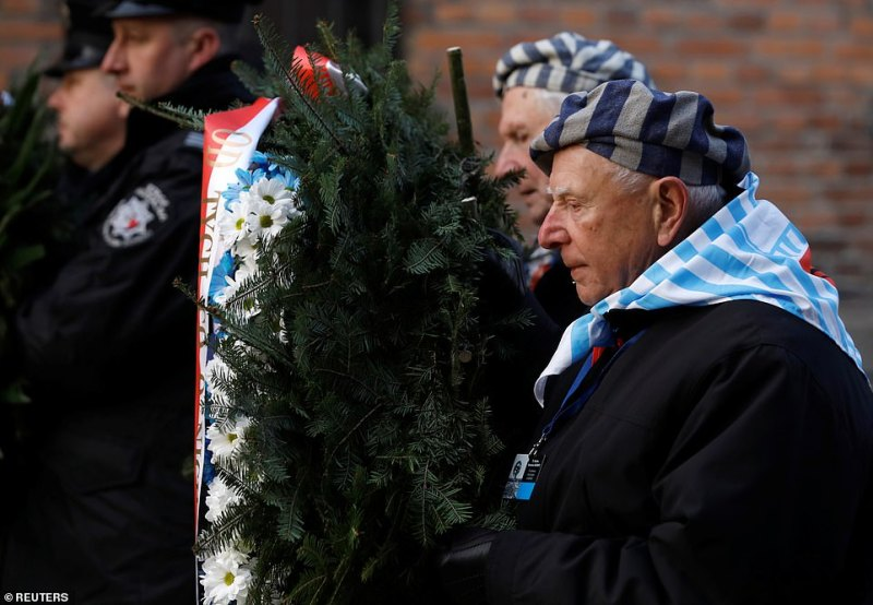 A man can be seen carrying a wreath during a ceremony that marked 75 years since they were set free from the concentration camp. Auschwitz is the most infamous of all the concentration camps during the war, as it was the biggest of all the Nazi-run camps and was the site of huge gas chambers that were used to kill people