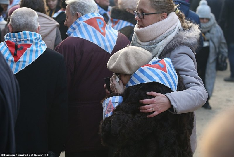 Survivors could be seen leaning on their loved ones as they attended the 75th commemoration of the liberation of Auschwitz