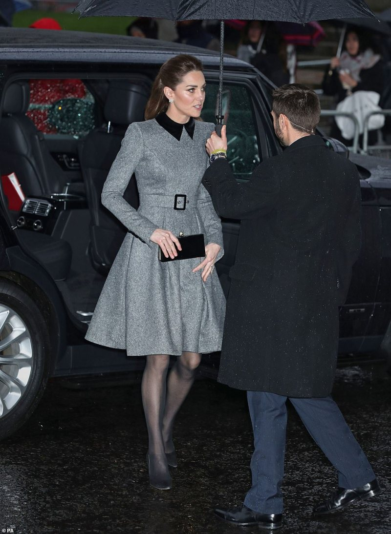 The Duchess of Cambridge arriving at Central Hall in Westminster today for the commemorations to mark the sombre anniversary