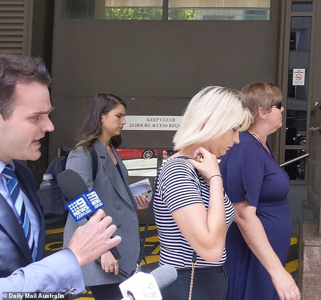 The mother and sister of Angela Surtees are pursued by media as they leave the Melbourne Magistrates' Court last year. They made no comment