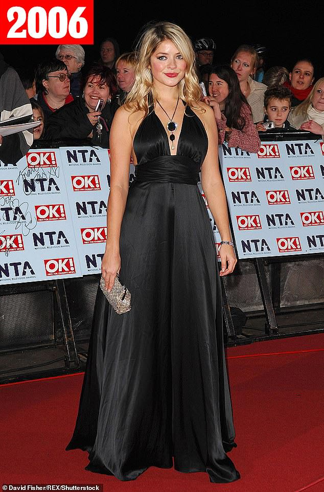 Radiant: The following year, the ITV personality took the plunge as she sported a plunging black dress (pictured)