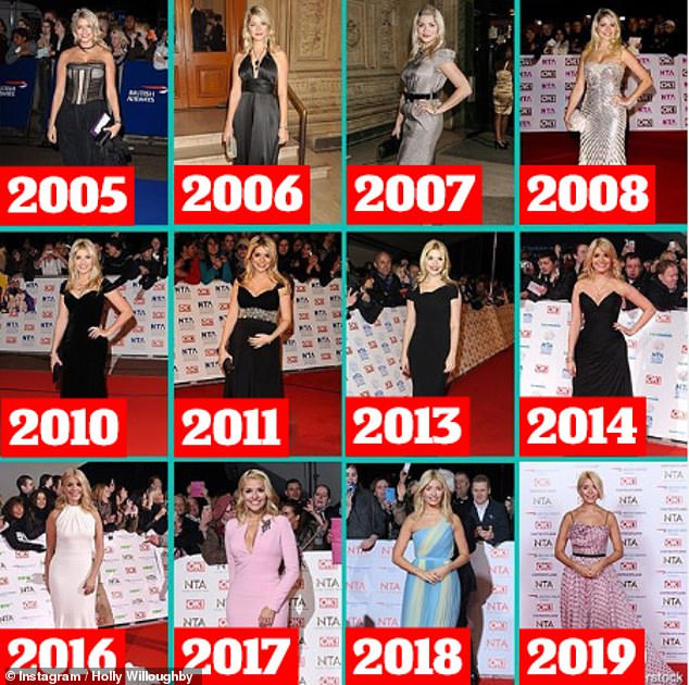 'It's mad how much we change': A day earlier, Holly took a walk down memory lane as she posted a collage of all the ensembles she wore at the event from 2005 on Instagram