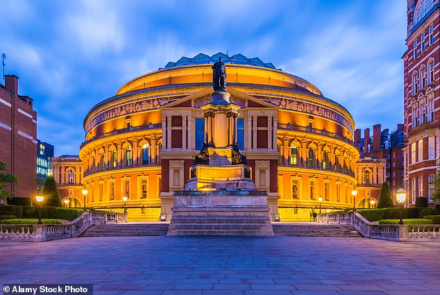 The commemorative event of Victory of Europe Day on May 8, 1945, at the Royal Albert Hall (pictured) is to be broadcast at more than 400 cinemas across the UK. It features the Royal Philharmonic Concert Orchestra, the Military Wives Choirs, special guests, VIPs, members of Sir Winston Churchill's family and, above all and veterans