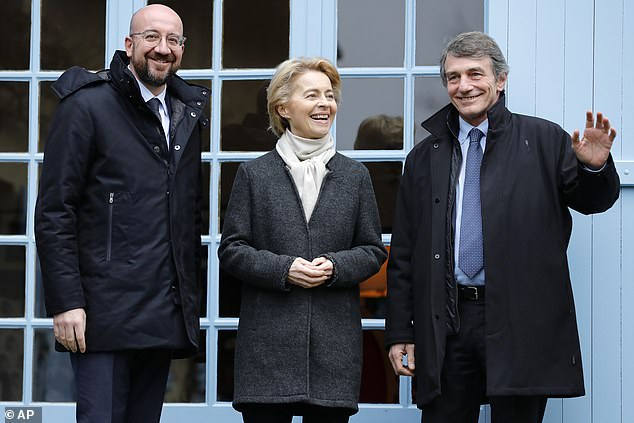 Charles Michel (left), Ursula von der Leyen (centre) and David Sassoli (right), pictured in Paris yesterday, have said 'without a level playing field on environment, labour, taxation and state aid, there cannot be the highest quality access to the single market' for the UK after Brexit