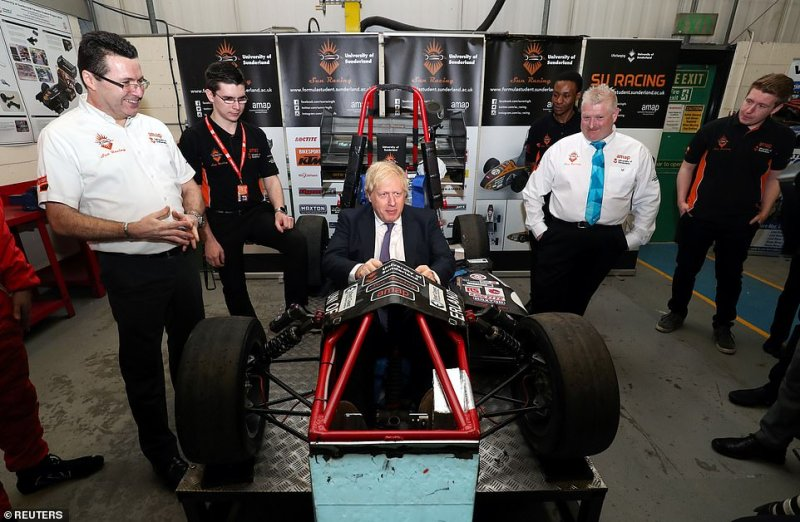 Mr Johnson appeared in good spirits today as he travelled to the north of England for a meeting of his Cabinet. Before the meeting he visited The Industry Centre at University of Sunderland