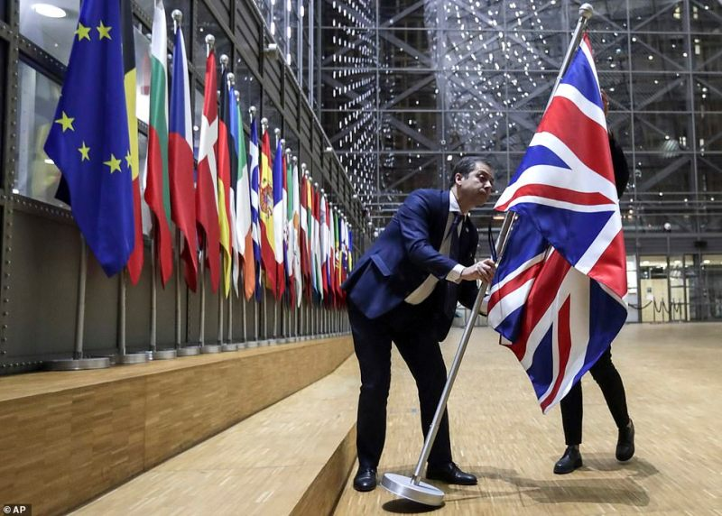 The Union flag was taken down at the European Council HQ in Brussels tonight as the new reality came into force