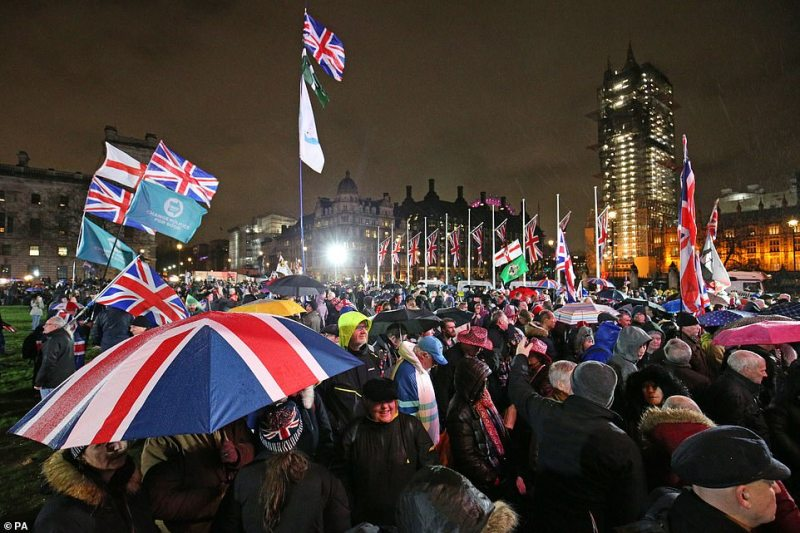 Pro-Brexit supporters gathered in Parliament Square, London, ahead of the UK leaving the European Union at 11pm tonight
