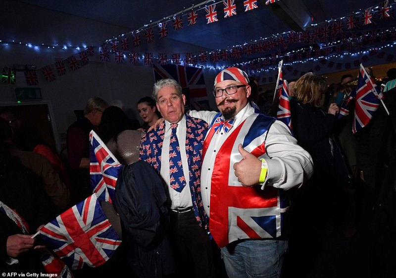 Brexit supporters react during a Brexit Celebration party at Morley rugby club.The celebrations got into full swing well before the 11pm, when Britain finally divorces from the bloc after three and half years of wrangling