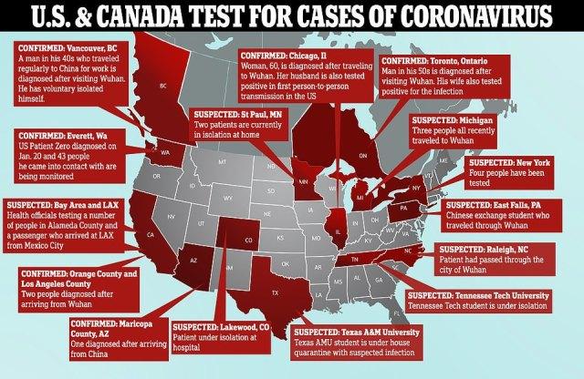 Obecnie w USA jest siedem potwierdzonych przypadków koronawirusa, rozmieszczonych w czterech stanach oraz dwa przypadki w Kanadzie.  Sprawy są podejrzane w kilku dodatkowych stanach USA